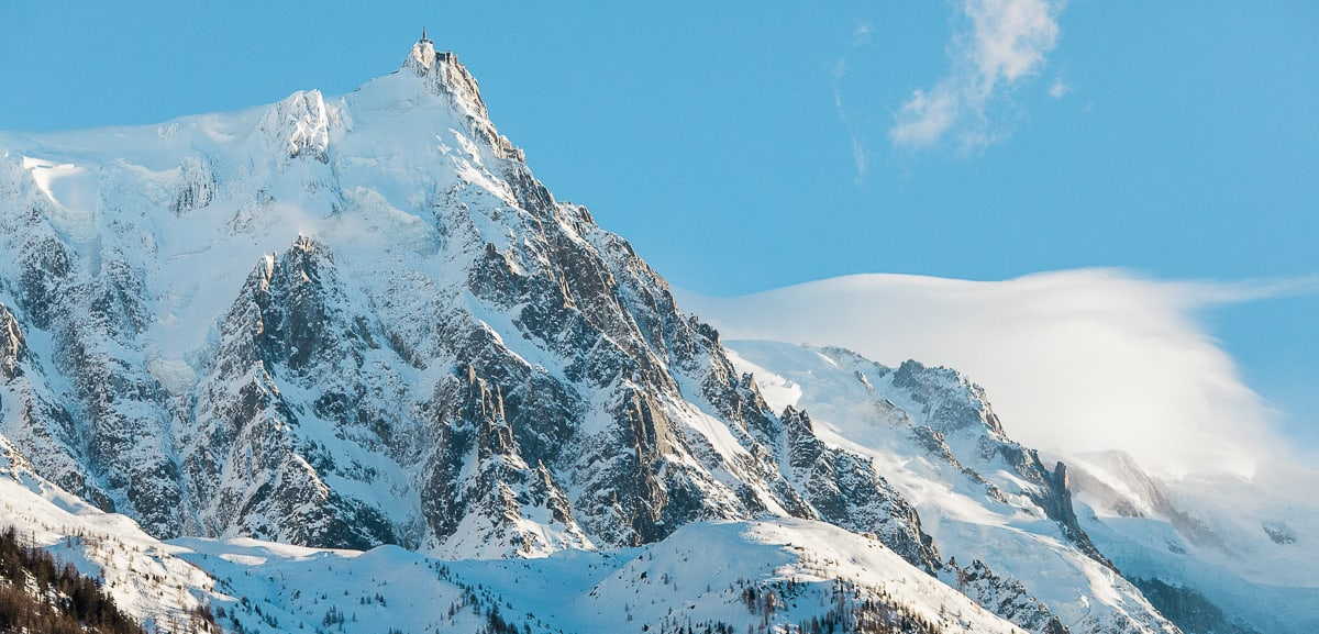 The snowy summits above Chamonix during a beautiful winter wedding.