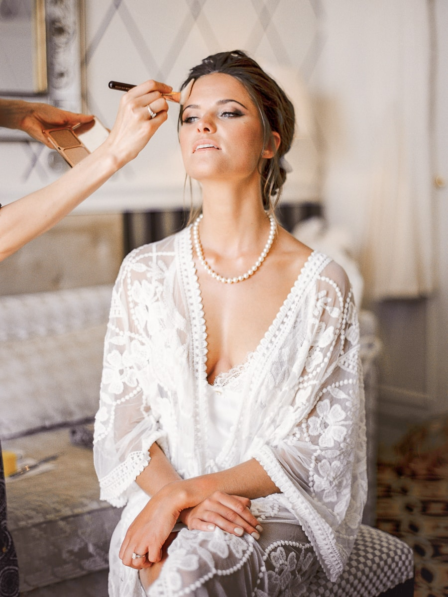 A beautiful bride prepares herself before the big day of her union.
