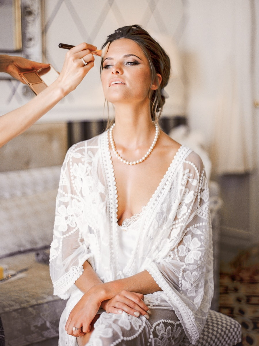 Portrait of a beautiful bride during preparations on the French Riviera before the wedding ceremony.