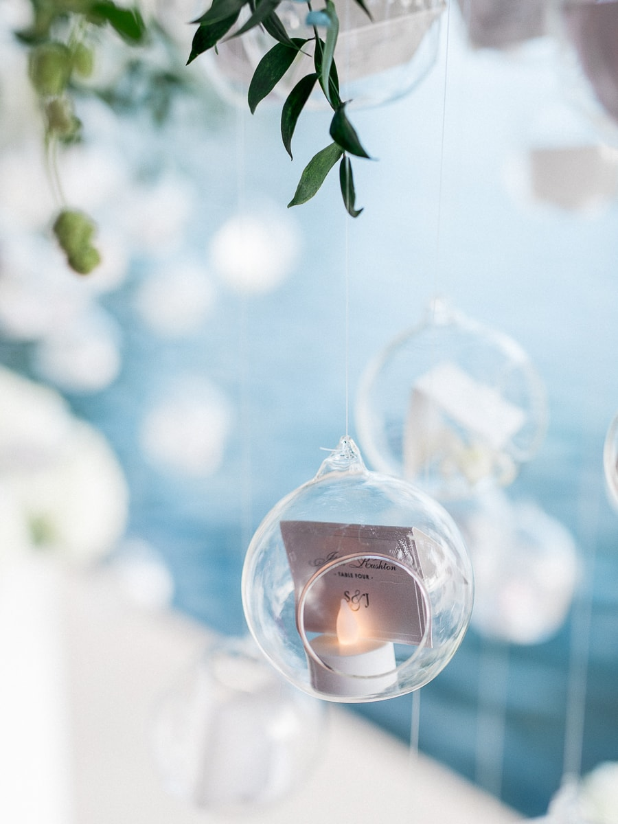 Detail of the decoration during a wedding on the French Riviera at the Hotel Belles Rives.