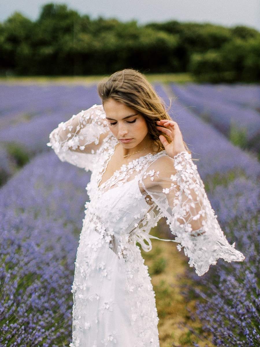 A beautiful bride in a lavender field in Provence.